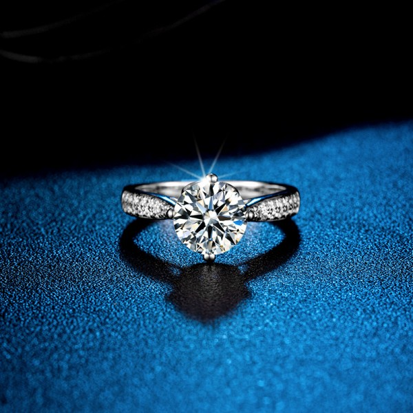 Round Cut 1.5 Carat tw Solitaire With Side Accent Moissanite Rings For Womens In Sterling Silver