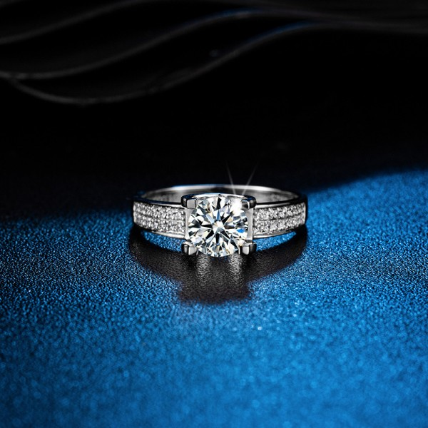 Round Cut 1.2 Carat tw Solitaire With Side Accent Mens Moissanite Rings In Sterling Silver