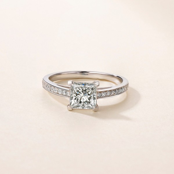 Princess Cut 1.2 Carat tw Solitaire With Side Accent Moissanite Rings In 9K Gold