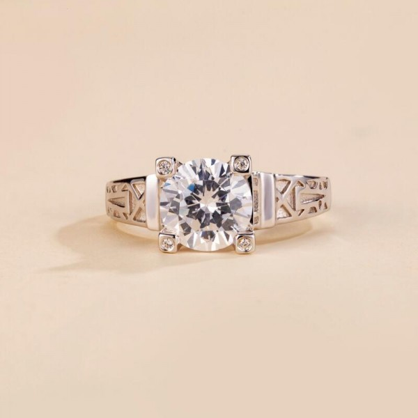 Round Cut 2 Carat tw Solitaire Moissanite Rings In 18K White Gold