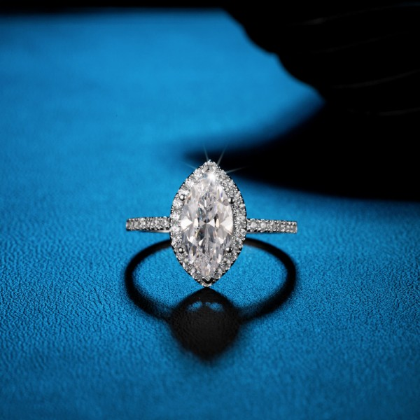 Marquise Cut 2 Carat tw Solitaire With Side Accent Moissanite Rings In 18K Gold