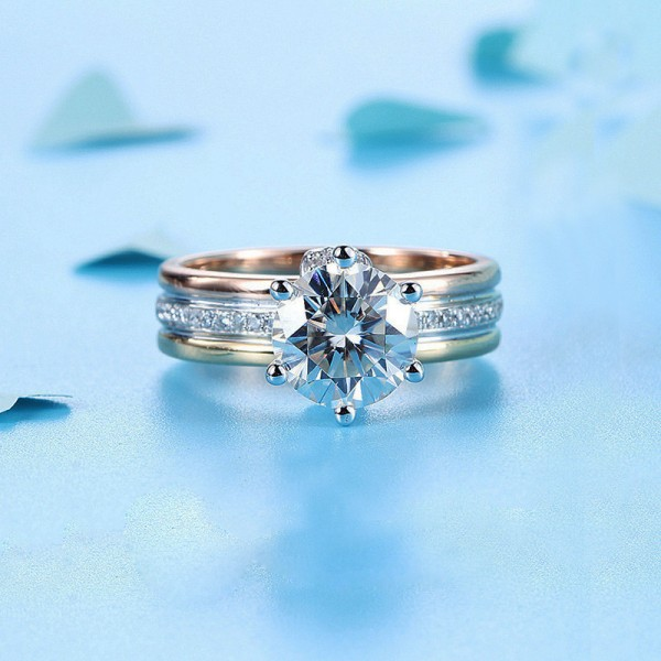 Round Cut 1.5 Carat Solitaire With Side Accent Moissanite Rings In 18K White And Yellow Gold