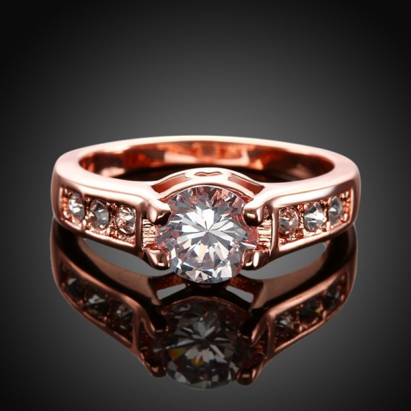 Round Cut 2 Carat Solitaire With Side Accent Moissanite Rings In 18K White Or Rose Gold