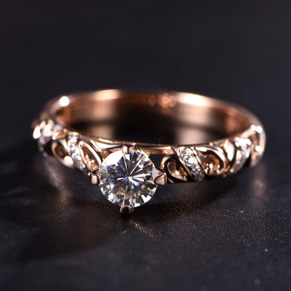 Round Cut 1/2 Carat Solitaire With Side Accent Moissanite Rings In 18K Rose Gold