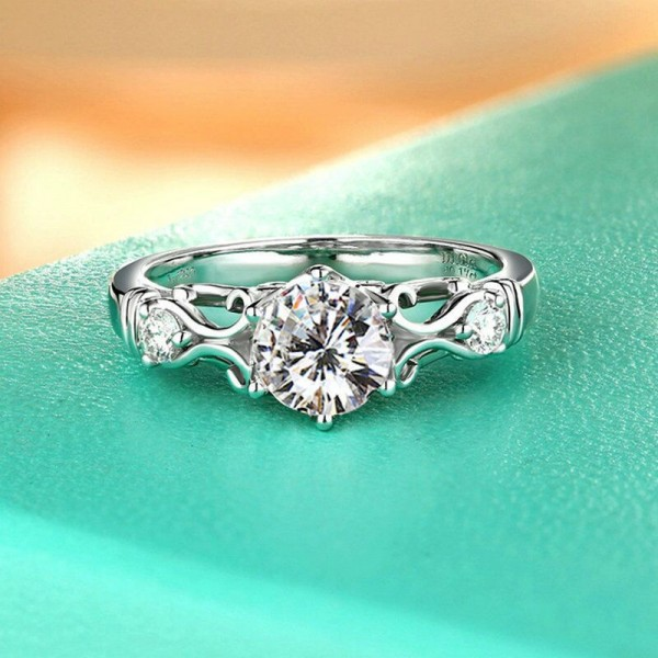 Round Cut 1 Carat Knot Womens Moissanite Rings In 18K White Gold