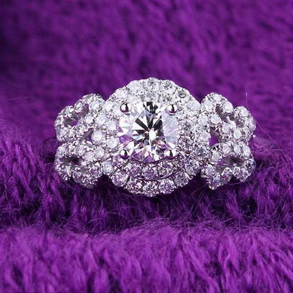 Round Cut 1 Carat Halo Flower Moissanite Rings In 18K White Gold