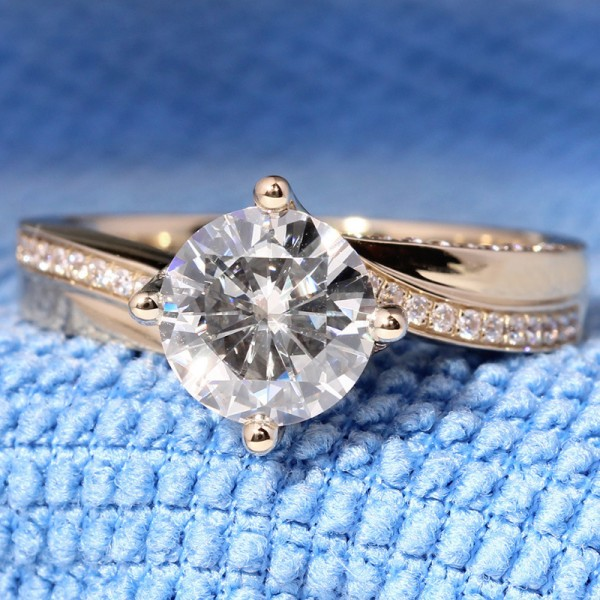 Engravable Round Cut 2 Carat Solitaire With Side Accent Moissanite Rings In 18K Rose Gold
