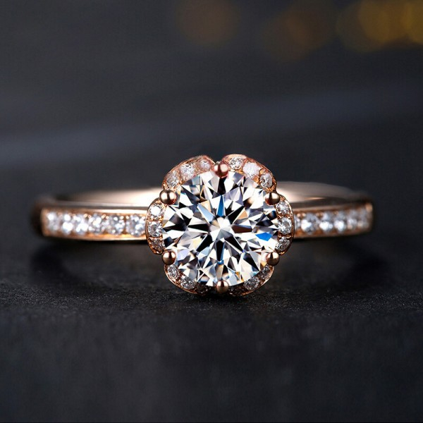Engravable Round Cut 1 Carat Halo Moissanite Rings For Womens In 18K Rose Gold